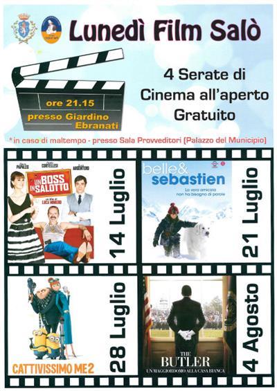 Lunedì cinema film all'aperto Salo' luglio agosto 2014